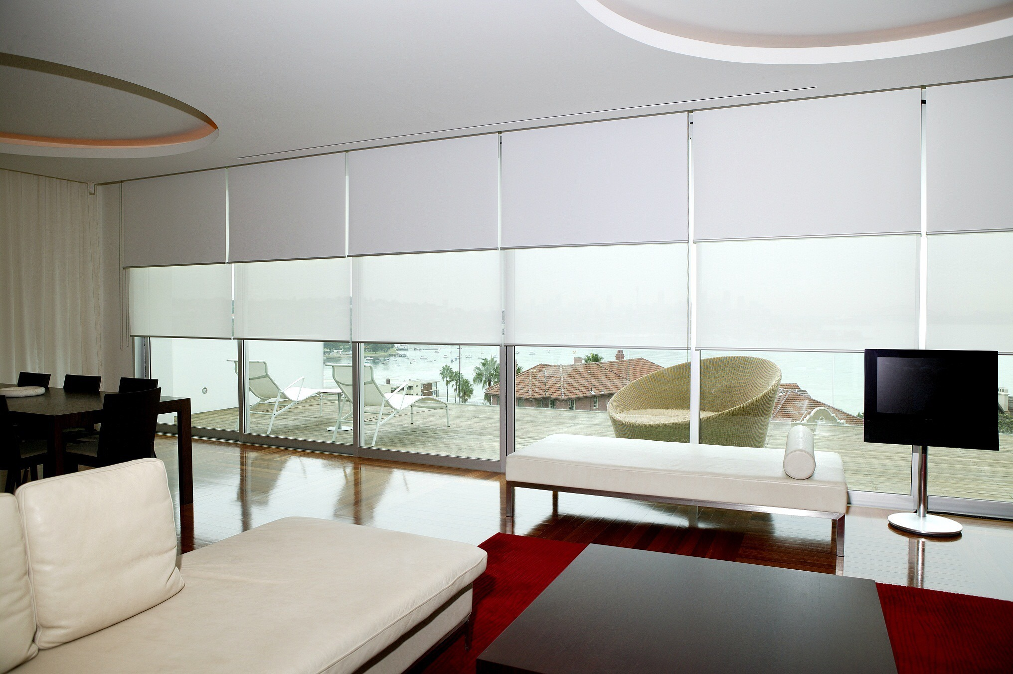 pd for china windows blinds with polyester aluminum fabric double toprail roller